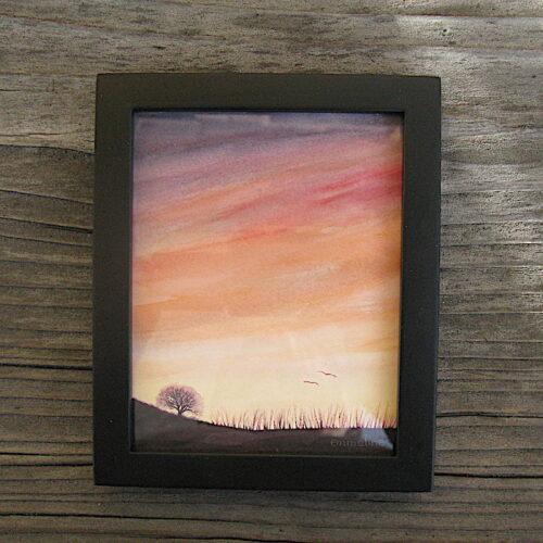 Tree in Sunset Miniature Painting   Emmeline Craig