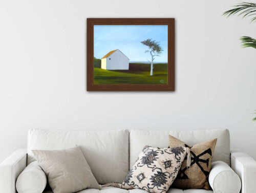 barn with tree giclee on paper framed
